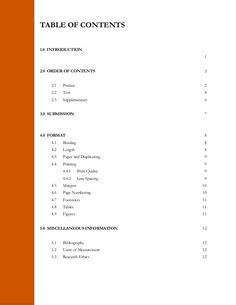 Table of contents for thesis wording